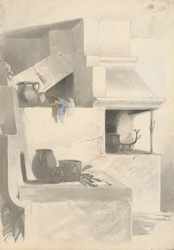 Friedrich Carl von Scheidlin - Náčrt krbu s kuchynským náčiním