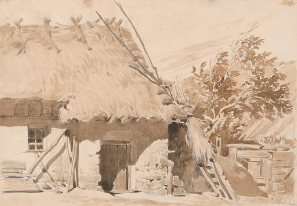 Friedrich Carl von Scheidlin - Štúdia chalupy so slamenou strechou