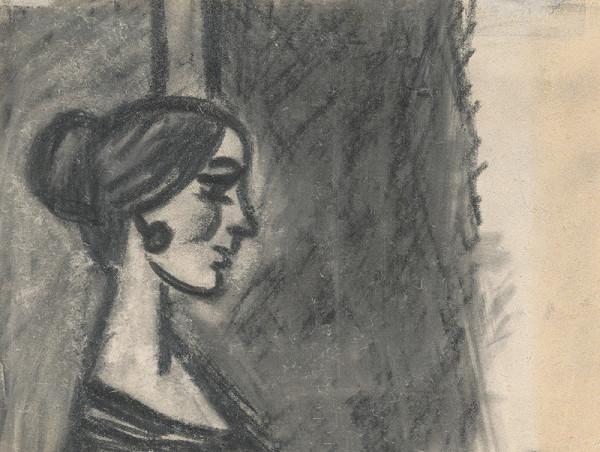 Peter Matejka – Štúdia hlavy ženy s hore vyčesanými vlasmi