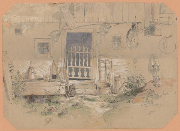 Friedrich Carl von Scheidlin - Malebné zákutie dedinského dvora s drevenými vyrezávanými vrátami