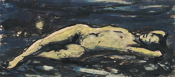 Ján Mudroch - Štúdia ležiaceho ženského aktu