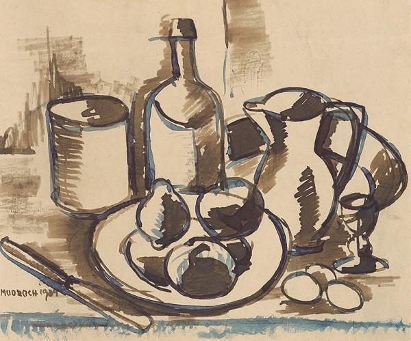 Ján Mudroch – Zátišie s ovocím, fľašou a džbánom