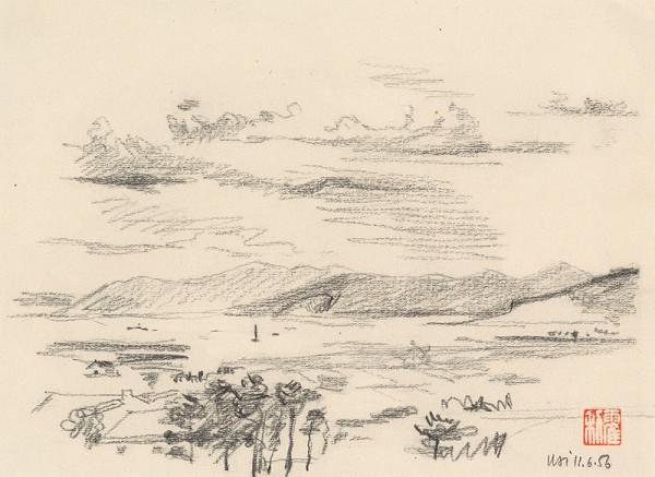 Anton Hollý – Štúdia krajiny s riekou