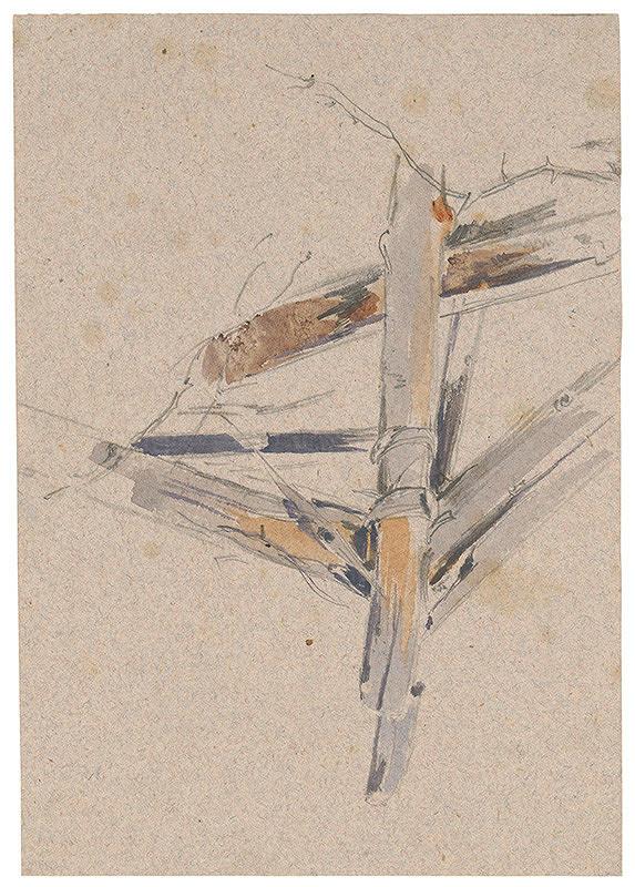 Friedrich Carl von Scheidlin – Štúdia drevenej pasce na lesnú zver. Detail.