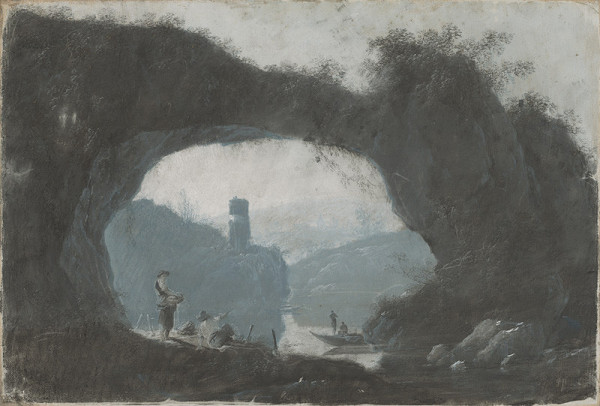 Jean Baptiste Pillement - Kamenná brána v riečnej krajine