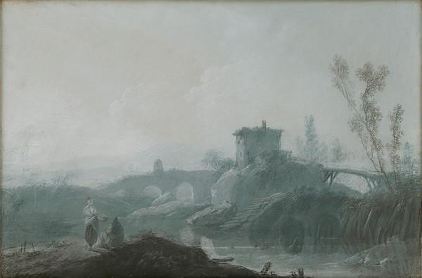 Jean Baptiste Pillement - Riečna krajina s mostami a figurálnou štafážou