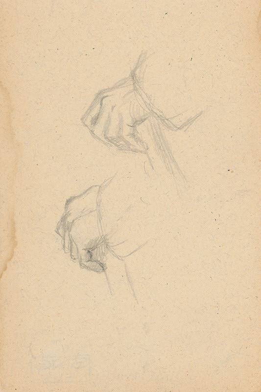 Gustáv Mallý - Štúdia rúk držiacich palicu