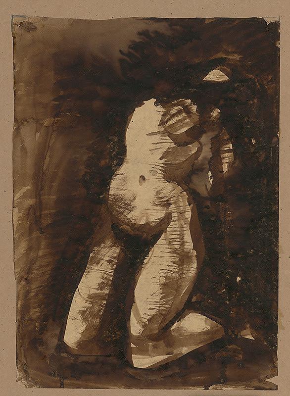 Ján Mudroch - Štúdia kľačiaceho aktu