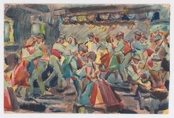 Gustáv Mallý – Štúdia k obrazu Svadba na dedine
