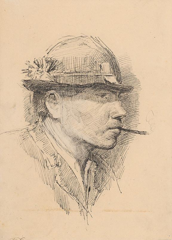 Ladislav Mednyánszky - Hlava fajčiaceho mládenca v klobúku