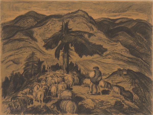 Martin Benka - Ovce na holiach - štúdia