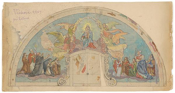 Jozef Hanula – Madona s dieťaťom, návrh klenovej maľby kostola vo Višňovom