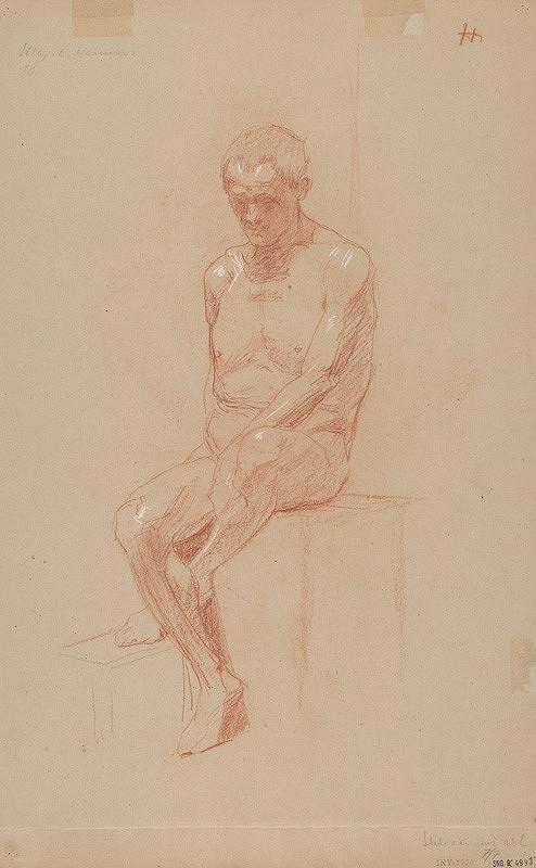 Jozef Hanula - Sediaci mužský akt en face