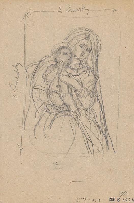 Jozef Hanula - Štúdia madony s dieťaťom