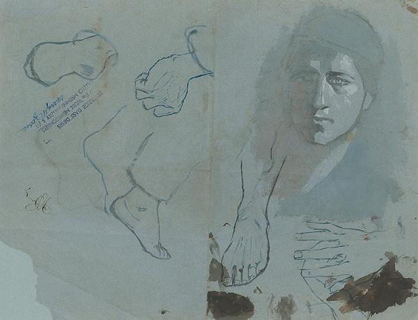 Ladislav Mednyánszky – Štúdia hlavy,rúk a nôh