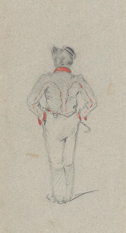 Friedrich Carl von Scheidlin – Štúdia stojaceho muža zozadu