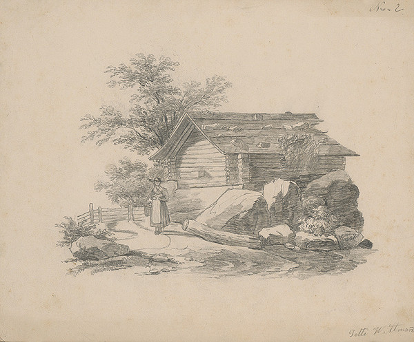 Henriette Jetti Wittmann - Stojaca žena pred dreveným domom