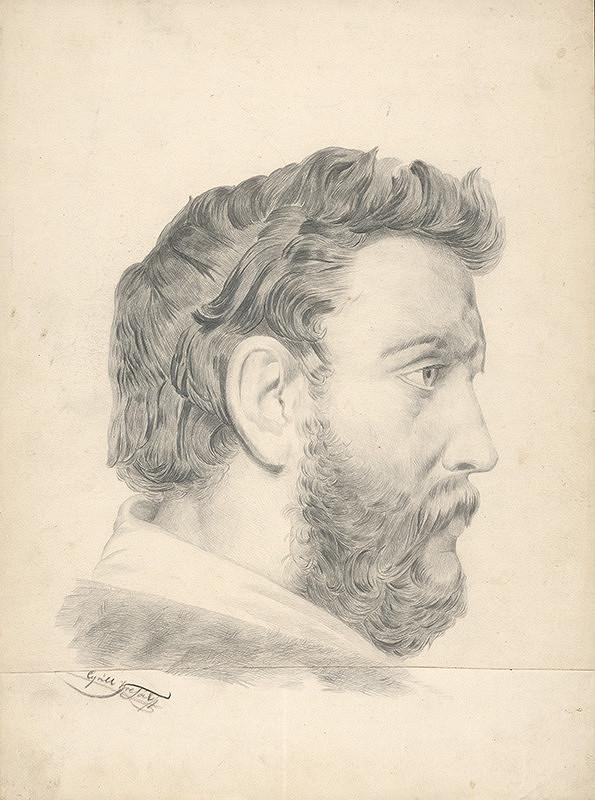 Cyril Kresák – Štúdia hlavy muža z profilu