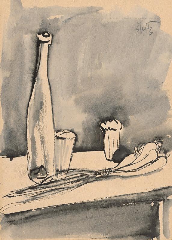 Ernest Špitz - Zátišie s mladou cibuľkou