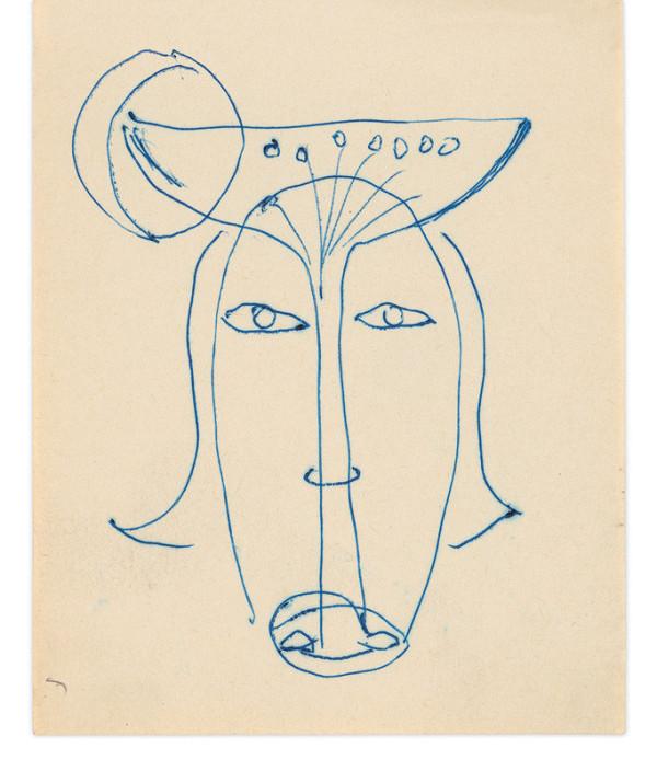 Eugen Nevan - Skicár - 14 listov - Hlava s kalichom a mesiacom