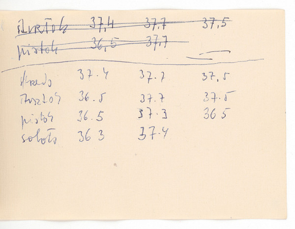 Ernest Špitz – Poznámky (meranie teploty)