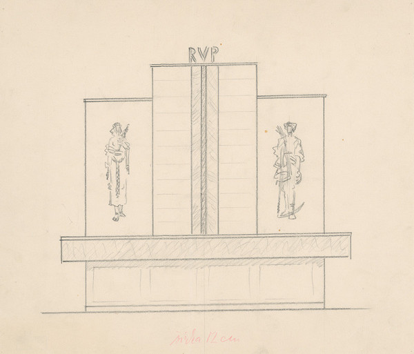 Martin Benka – Situačný nákres sgrafitovej výzdoby budovy RVP v Martine