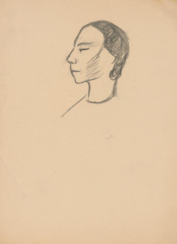 Eugen Nevan - Štúdia hlavy ženy z profilu