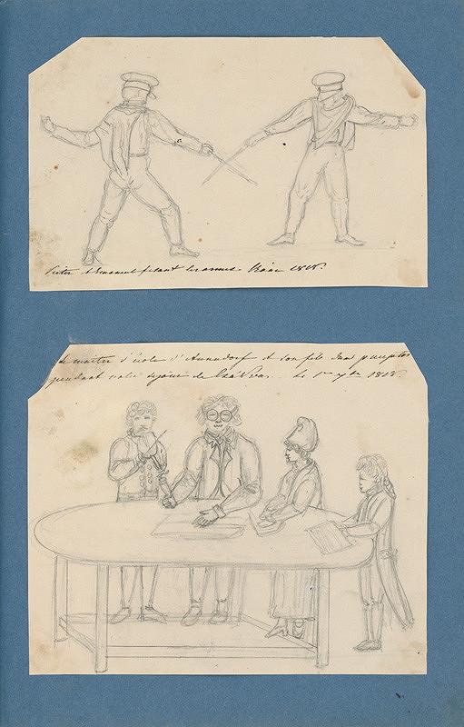 Stredoeurópsky maliar z 19. storočia – Šermiari. Otec so synmi za stolom a huslista