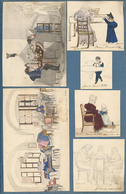 Stredoeurópsky maliar z 19. storočia, Henriette Odescalchi - Výjavy z kaštieľa v Hornom Bare. Rodina pri stole v Rusovciach. Melánia Zichy Ferraris pri hre na klavír