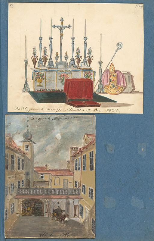 Stredoeurópsky maliar z 19. storočia, Henriette Odescalchi - Vyzdobený oltár pri príležitosti svadby Emílie a Pavla Széchenyi.