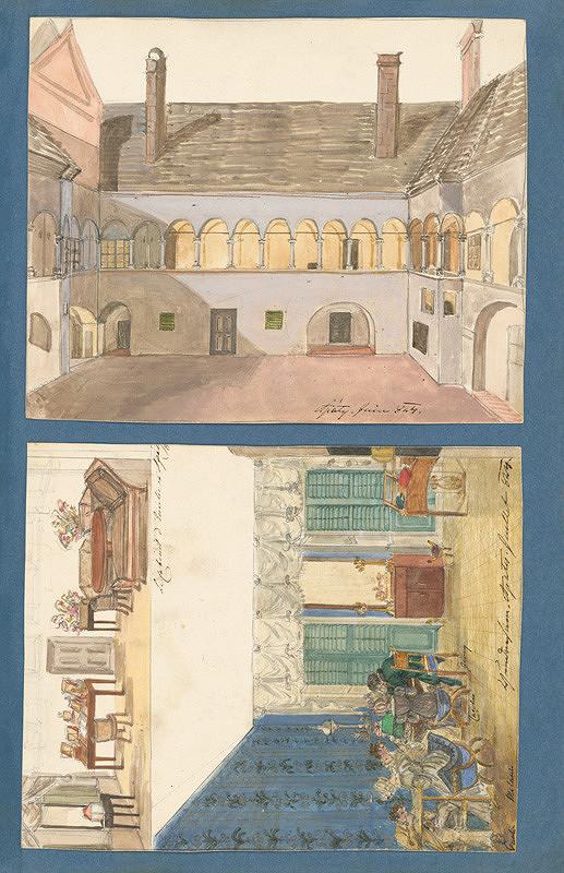 Henriette Odescalchi - Nádvorie v kaštieli v Apáty. Interiér kaštieľa rodiny Széchenyi v Apaty.