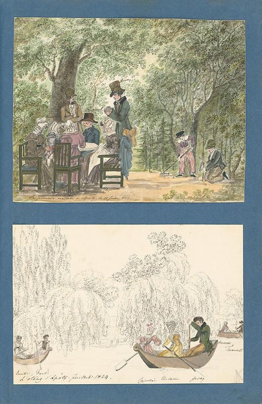 Henriette Odescalchi - Rodina v záhrade kaštieľa v Apaty. Člnkovanie na jazere
