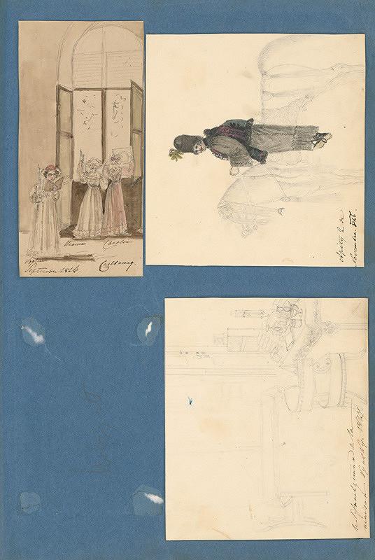 Stredoeurópsky maliar z 19. storočia - Pozorovanie zatmenia v Rusovciach. Vidiecky výjav. Interiér paláca Kinsky