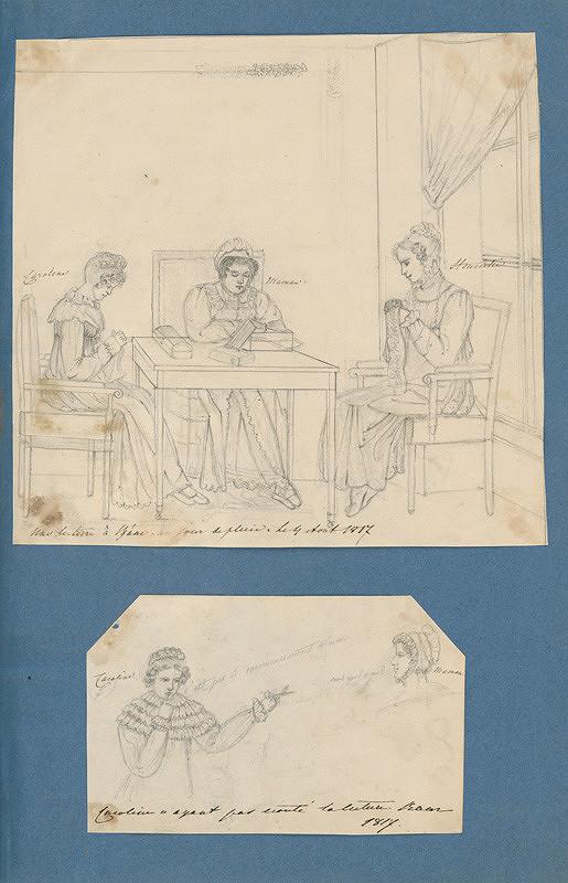 Stredoeurópsky maliar z 19. storočia - Grófka Molly a Henrietta Zichy Ferraris  a grófka Karolína Zichy pri vyšívaní. Mladé aristokratky pri recitovaní