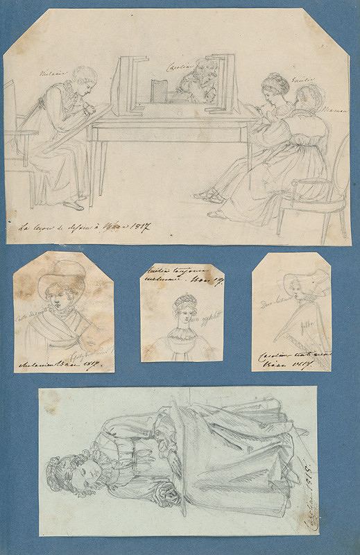 Stredoeurópsky maliar z 19. storočia - Hodina kreslenia v Hornom Bare. Samostatné portréty. Karolína pri kreslení.