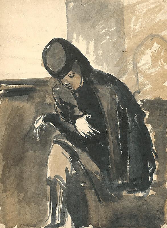 Ján Mudroch – Štúdia sediacej ženy