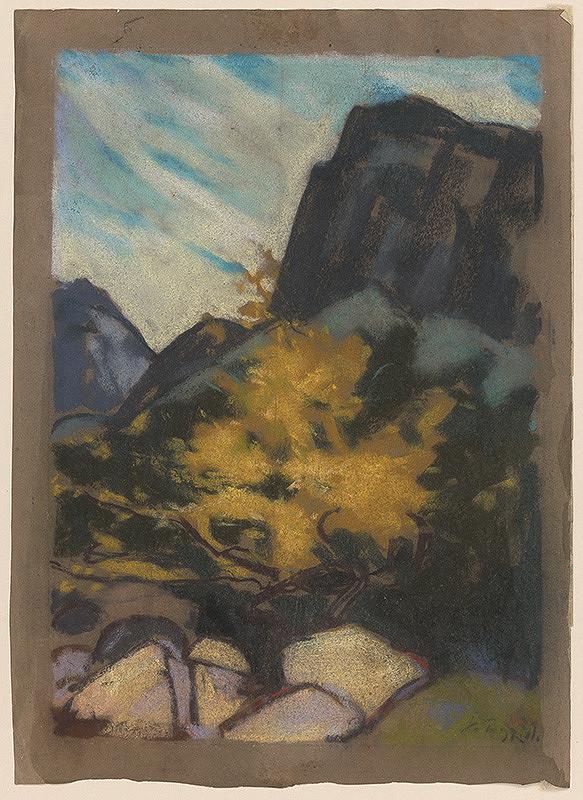 Zolo Palugyay - Skalnatá krajina so žltým stromom