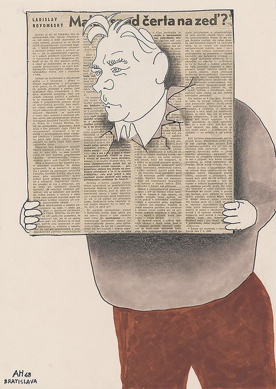 Adolf Hoffmeister – Karikatúrny portrét L.Novomeského
