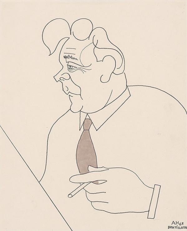 Adolf Hoffmeister - Karikatúrny portrét L.Novomeského III.