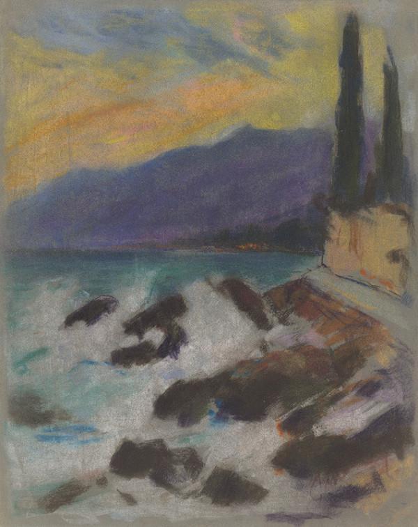 Zolo Palugyay – Skalnatý morský breh s cyprusmi