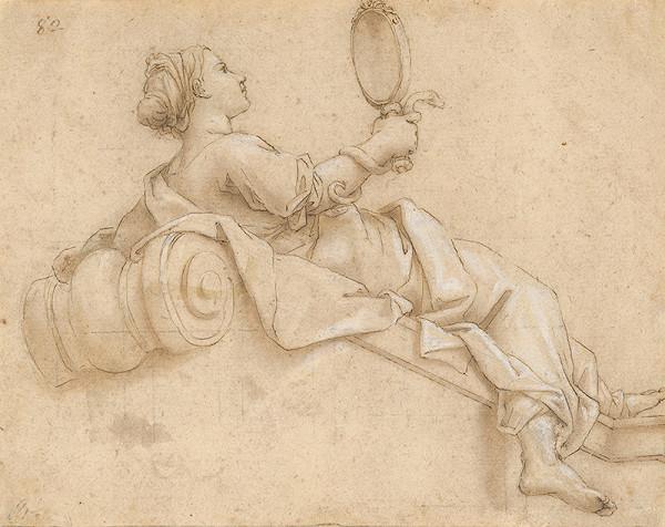 Taliansky maliar zo 17. storočia - Ležiace dievča so zrkadlom v ruke