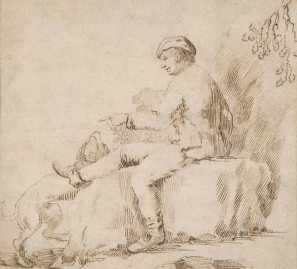 Taliansky maliar okolo 1600 - Štúdia sediaceho muža ihrajúceho sa so psom