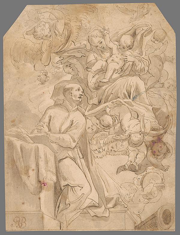 Stredoeurópsky maliar z 2. polovice 18. storočia - Madona s Ježiškom sa zjavuje mníchovi
