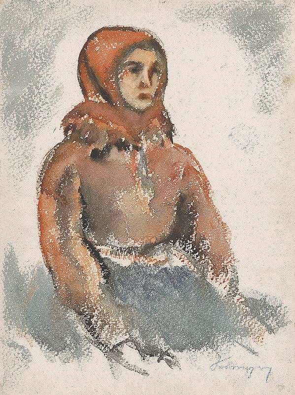 Zolo Palugyay - Sediace dievča v červenom vlniaku
