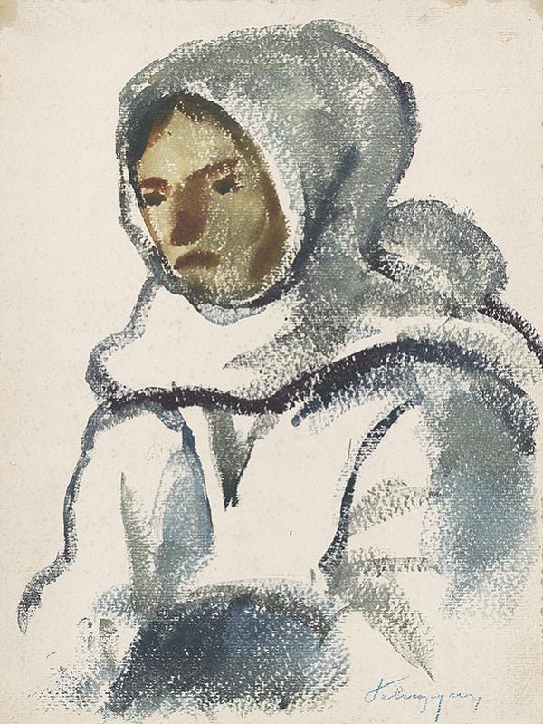 Zolo Palugyay - Štúdia dievčaťa vo veľkej zimnej šatke