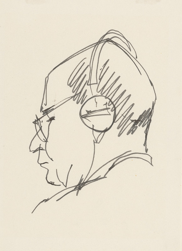 Ján Kulich - Štúdia hlavy muža z profilu