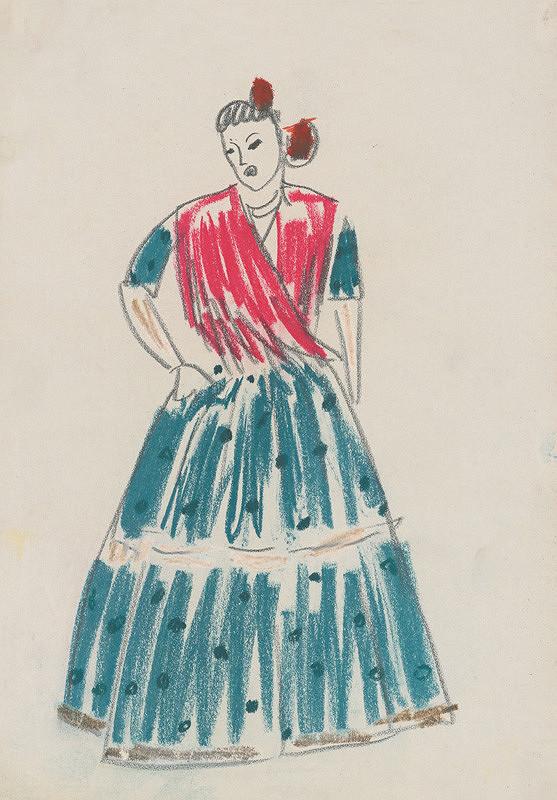 acd204bd8ee9 Eugen Nevan - Návrh na ženský kostým XIV.
