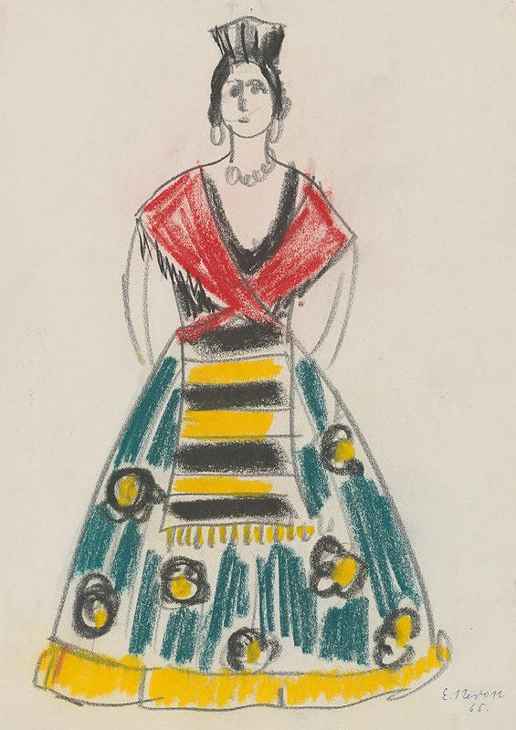 864eff978152 Eugen Nevan - Návrh na ženský kostým XVI.