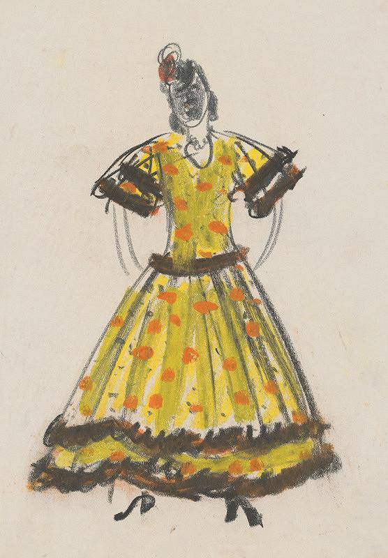 Eugen Nevan - Návrh na ženský kostým XIX.