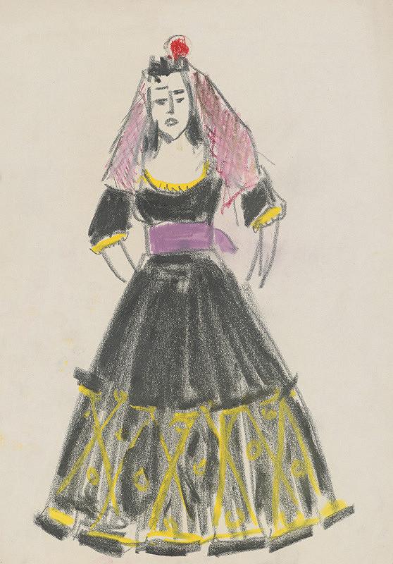 Eugen Nevan - Návrh na ženský kostým XVIII.